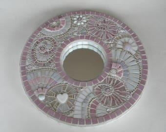 Pink & White Mosaic Mirror, Cottage Chic, Unique Home Decor, Boho, Round Mosaic Mirror, Shabby Chic, Baby Girl Nursery, Wedding Gift