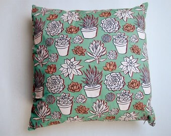 succulent pattern handmade scatter cushion