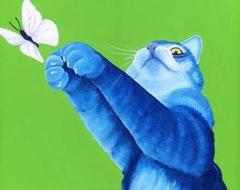 Blue Cat Art Print Cat Artwork Cat Illustration Cat Lover Gift Animal Art Print Acrylic Cat Painting Blue Cat Print Custom Cat Portrait