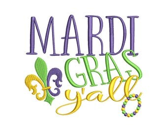 Mardi Gras Yall Machine Embroidery Design - Instant Download