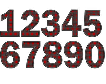 Plaid Fill Applique Numbers Embroidery Font  - Instant Download