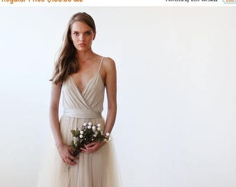 25% OFF Champagne tulle maxi dress, Bridesmaids straps maxi gown, Fairy tulle maxi dress 1053