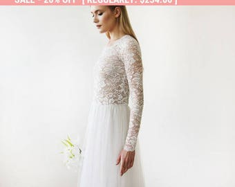 Round Neck-Line Long Sleeves Sheer Lace and Maxi Tulle, Tulle and Lace bridal gown 1152