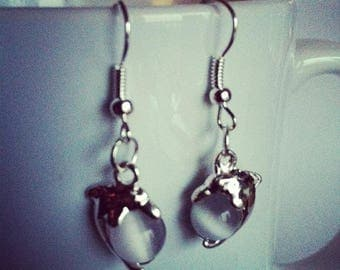 Dolphin gray glass beads earrings