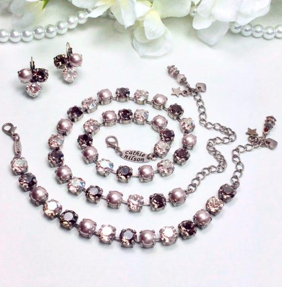 Swarovski Crystal 8.5mm Necklace - Designer Inspired - Tawny Fall - Golden, Smoky Quartz, & Bronze Pearls  Sophistication - FREE SHIPPING