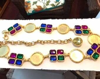 Jewel Tone Retro Chain Belt with Blue, Green, Fuchsia Pink, Purple - Gold Tone Round Links - Tunic Belt - Accessories Belt-5131a-053017015