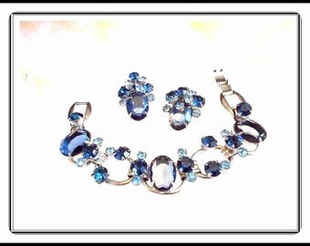 Vintage 2 Toned Blue Juliana Bracelet Demi - Earrings and Bracelet -  D&E  Demi-650a-071317065