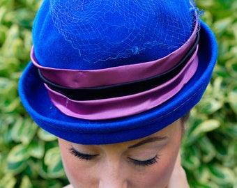 Vintage Wool Hat, Vintage Hat, Ladies Hat, 1950s Millinery, Vintage Millinery, Vintage Bowler Hat, Vintage Derby Hat, Wool Hat