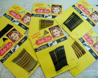 VINTAGE BOBBY PINS on a Yellow Card with Great Graphics: Lady Lora Hair Pins- Choose Quantity, Black or Brown