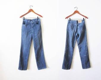 Vintage Student Levis Corduroy Pants - Levis Blue Corduroy Pants - High Waisted Cords - Levis Straight Leg Corduroy Pants - Levis 25