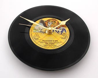 """ROD STEWART Vinyl Record Clock """"This Old Heart Of Mine"""" made from Original recycled 7"""" single vinyl disc Retro rock gift mum dad fun"""