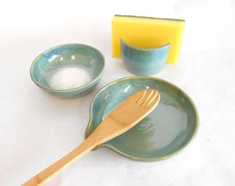 Salt Bowl Pottery Spoon Rest Sponge Holder Kitchen Set Pinch Pot Nut Bowl Ring Dish Wedding Gift House Warming Gift in Two Tone Blue