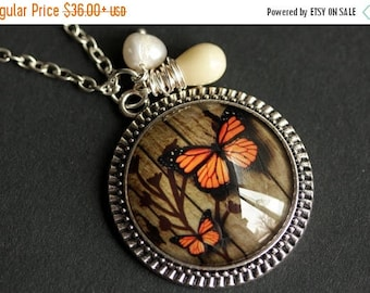 BACK to SCHOOL SALE Orange Butterfly Necklace. Monarch Butterfly Pendant with Fresh Water Pearl and Beige Teardrop. Orange Necklace. Handmad