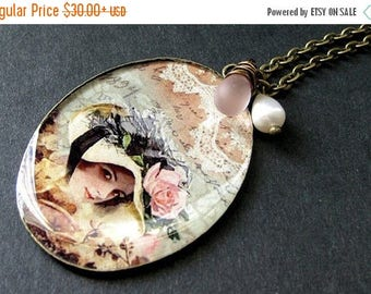 VALENTINE SALE Lady Necklace Pendant with Soft Pink Wire Wrapped Teardorp and Fresh Water Pearl. Handmade Jewelry.
