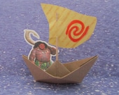 Maui / Moana Party Birthday Boat Water Sign Wayfinder Paper Boat Sailboat Cut Cupcake Cake Topper