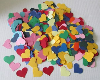 Rainbow paper hearts cardstock wedding confetti bridal shower 500 pieces