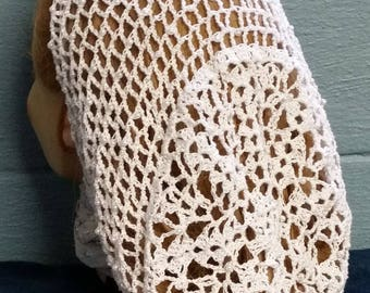 "Lacy Bouquet Snood Pattern - Beaded Alternating Rows in Metallic Combination thread-Long 10"" Length"