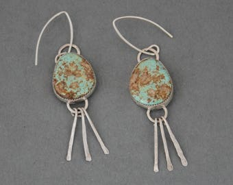 Turquoise Silver Earrings, Western Jewelry, Boho Earrings, Long Dangle Earrings, Southwestern Jewelry, Bohemian Jewelry, Evans Turquoise