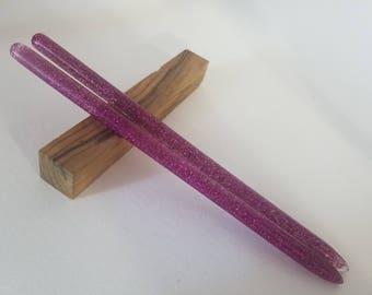 Purple Glitter acrylic hair stick (choose 1 or more)