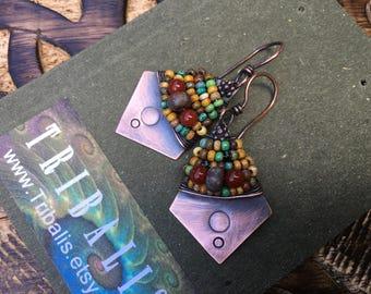 Rustic Jewelry Boho Ethnic Naif 'Alegria Alegria' Series earrings n345- 70's inspired .beaded . festive folk ethnic jewelry . south western