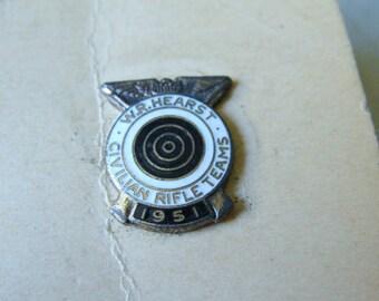 1951 W. R. Hearst Civillian Rifle Teams Enameld Collar Pin, Still Mounted on Original Cardboard
