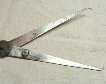 Vintage Clean Starrett 8 Inch Outside Calipers w/ Fine Adjustment Knobs