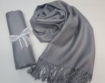 MEDIUM GRAY ( Medium silver Gray ) Pashminas. Bridesmaid Medium Gray Shawl. Pashmina Scarf. Wedding Favor