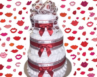 3 Layer- Hugs and Kisses Lips Baby Shower Diaper Cake