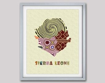 Sierra Leone Map Art Print, Sierra Leone Wall Decor, Freetown Sierra Leone