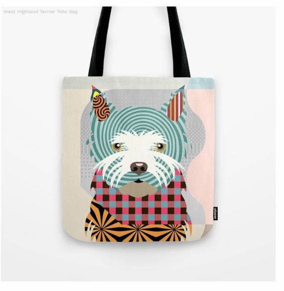 Westie Tote, Westie Bag, Westie Gifts, Westie Print, Dog Tote Bag, Dog Lover's Gift, Animal Lover Gift, Pet Tote Bag