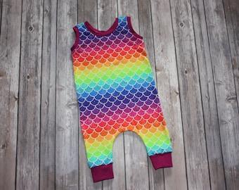 Baby Romper,Rainbow Romper,Baby Girl Romper,Mermaid Outfit,Mermaid Baby Romper,Harem Romper,hipster baby clothes,Rainbow Baby Romper