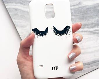 Monogram Eyelash phone case - iPhone 7, iPhone 6 plus, iPhone SE, iPhone 4/4s, Samsung Galaxy S8, Samsung Galaxy S8 PLUS, Samsung Galaxy S5