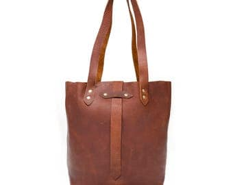Leather Tote Bag, Copper Tote Bag, Foil Monogram