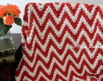 Candy Cane Ripple Lapghan Crochet Pattern, Easy Crochet Afghan Pattern
