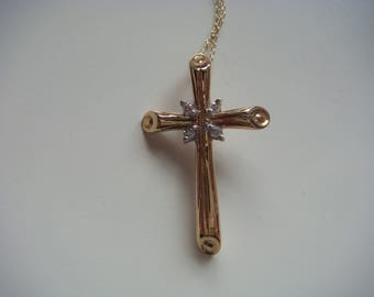 10k Gold Cross with Diamond Accents
