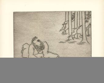 Ben-Zion-Enkidu Feels Dejected (XII)-1966 Etching-SIGNED