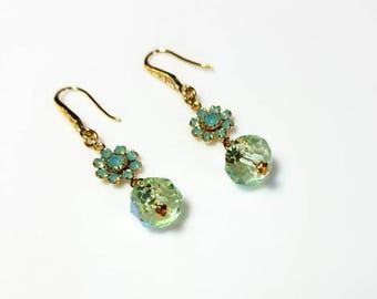 Pacific Opal Swarovski Crystal Gold Flower Earrings with Peridot Green Rondelles Mint Green Crystal Earrings Dangle Beaded Jewelry