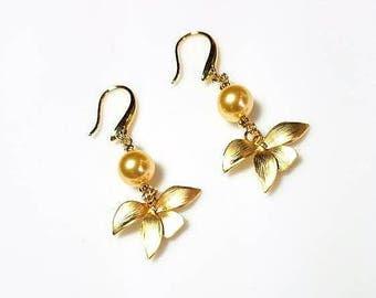Gold Swarovski Crystal Pearl Orchid Leaves Drop Earrings Hypoallergenic Earrings Nickel Free Earrings Long Dangle Jewelry Gifts for Her