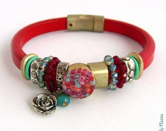 Red leather - Cabochon, flower, Crystal, metal beads charm bracelet - custom
