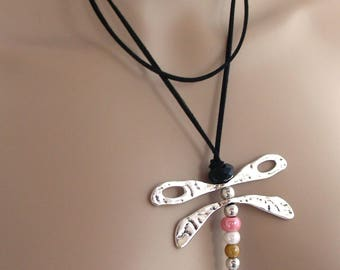 Necklace multicolor Dragonfly - Metal, ceramic and leather