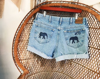 Elephant Shorts, Denim Elephant Shorts, Printed Elephant Shorts, Bohemian Elephant Shorts, VintageChameleon, Elephant Clothing