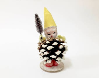 VINTAGE ELF Pinecone GNOME - Christmas Figure - Yellow Hat - Tree In Hand - Japan - Figurine - Spun Cotton Face - Chenille Arms - Glitter