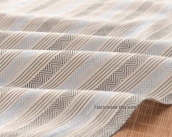 Blue Gray Triangle Stripes Fabric, Light Weight Stripes Linen Blended Fabric Vintage Color - 1/2 yard