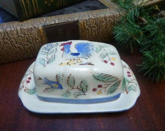 Nasco Hand Painted Rooster Covered Butter Dish  (SK)