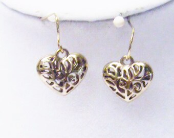 Small Gold Plated Filigree Puff Heart Earrings