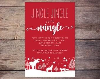 Jingle Jingle Lets Mingle Christmas Party Invitation, Holiday Party Invite, Printable Invitation, Print at Home Invites