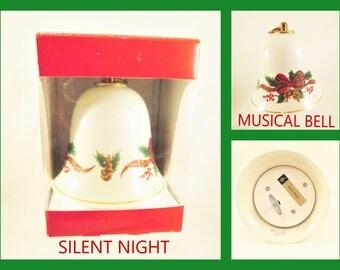 Konitz Porcelain Musical Bell Vintage Christmas NIB Holiday Collectible Music Box Germany Silent Night