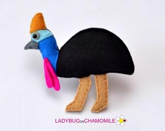 Felt CASSOWARY, stuffed felt Cassowary magnet or ornament, cute bird, Cassowary toy, Australian animals, home decor, Nursery decor, Aussie,