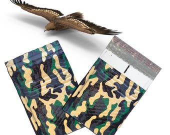 "100Pack - 6x10"" Camouflage Design Poly Bubble Mailers Self-Seal Business Envelopes Standard Mailer Bags Size #0 Protective Shipping Mailers"