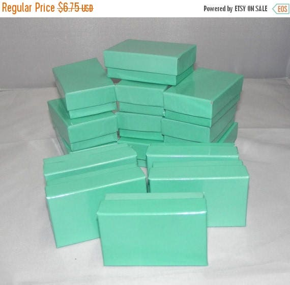 On Sale 20 Teal Jewelry Boxes, Cotton filled presentation gift boxes,Display Boxes 2.5x1.5